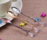 Wholesale Crystal Style Retro Coffee Scoop of Ice Cream Spoon Vintage Palace Style Decorative Ice Cream Coffee Tea Spoon