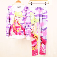 Men Alpaca Twinset sweaters 2014 New sport suit women Spring Fashion 3D Barbie Printing clothing set Hot Sale Sweat Hoodie Suit sport women