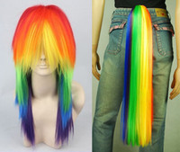 Wholesale Cosplay My Little Pony Rainbow Dash Multi Color Heat Resistant Wig Tail Set
