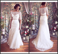 Wholesale Buy Spring White Plunging Neckline Sheer Back Applique A line Floor Length Sheer Sleeve Beads Crystal Belt Pleats Garden Wedding Dr