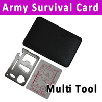 Hacksaw Steel Camping Knife 5pcs lot wholesale 11 in 1 Multi Function knife Emergency Outdoor Army Survival Tool Pocket Credit Card Knife Free Shipping