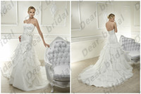 Wholesale 2014 new product Hot sale Floor length backless lace Organza Bridal Gowns Fold Bridal Gowns Hand Made Flowers Wedding Dresses with Wrap