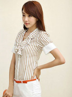 Formal Women Cotton Formal V-Neck Draped Stripe Cotton Women's Shirt silk shirts for men r79 #u13-1iCo