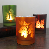 Wholesale CH Home decor frosting leaves glass romantic home Christmas colored glass wine bottles shape candle holder
