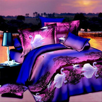 Wholesale chinese cheap d style bedding sets white swan purple sheet pc comforter duvet quilt cover Linen pillowcases bedcover bedclothes set queen