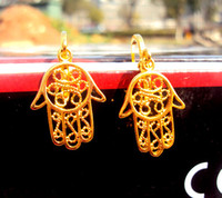 Wholesale The five fingers k Yellow fine gold Earrings God palm good fortune Jewelry