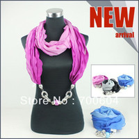 Wholesale 2013 Newest Fashion Style Woman Jewelled Beaded Pendant Necklace Scarf Mixed Colors Factory Supply Directly
