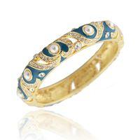 Wholesale Vintage k Gold Plated Austrian Rhinestones Pearl Love Heart Bracelets High Quality Cloisonne Enamel Brand Bangles For Women Gift Jewelry