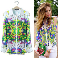 Wholesale Spring Summer Fashion Flowers Printing Off Shoulder lady Long Sleeve Casual Women Chiffon blouses Tops Turn down Collar Blouse