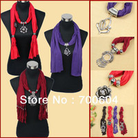 Wholesale 2013 Hot Selling Woman Jewelled Scarf w Pendant Factory Supply Mixed Colors and Designs SFmixed