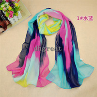 Wholesale 2014 lady scarf girl chiffon shawl Charm silk scarves Popular water colour palette Silk chiffon big squares beach towels
