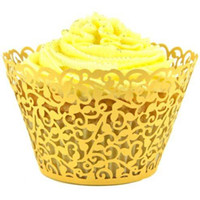 Backdrops cake supplies - Gold Filigree Vine Cupcake Wrappers Cake Liners Birthday Wedding Party Supply