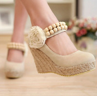 Wholesale 2014 spring and autumn sweet Lolita flowers beaded straps woven wedges shoes Item