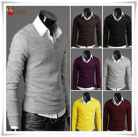 Wholesale Autume Winter new model newest model EU vintage Full cotton sheath Men s V neck under sweater model