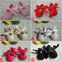 Wholesale Baby Toddler lace shoes Baby Kid Slip shoes Candy Color Shoes girls Princess shoes PU shoes Baby Soft Sole Shoes Ballet Style Shoes