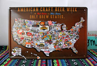 20cm X 30cm/8inch x12inch beer map - 20 cm AMERICAN CRAFT BEER WEEK ONLY BREW STATES Map Poster Metal Painting Tin Sign Wall Decor Bar Pub Decorative Plaques