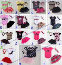 2017 baby 3pcs romper fedex ems ship Retail Baby romper Romper + Girls Tutu Skirt + Baby Headband 3pcs set infant suits Girl's Fashion Cotton Toddler Jumpsuit set cheap baby 3pcs romper