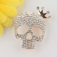 Wholesale New k Yellow Gold Filled Skull Clear Champagne Pink Austrian Crystal Brooch Pin Jewelry