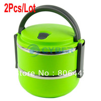 Ceramic Dinnerware Sets 15038# Cheap 2Pcs Lot Double Layer Stainless Steel Children Lunch Box 1.4L Keep Warm Food Container For Kids Green 15038