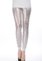 Cheap new arrival novetly design pants Silver Punk Fish Scale Pierced Holes Fashion Leggings LC79312 Free shipping