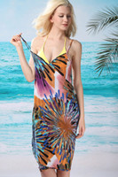 Women Bikinis Print swimwear Flaming Fireworks Front Beach Cover-up LC40457 bathing suit with the skirt