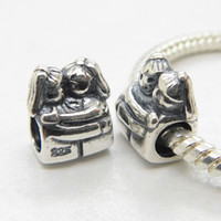 Crystal   Authentic 925 sterling silver core two girls baby charm bead FJ369 FOR 925pandora