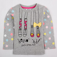 Girl Spring / Autumn Standard 2014 Children Clothing Spring Autumn Cute Baby Girls T-shirts Lovely Shoes Sock Bow Printing Tees Cotton Long Sleeve Tshirt Kids Tops F4685#