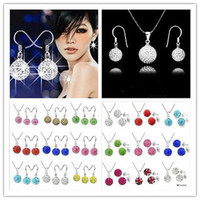 """Earrings & Necklace Crystal Sterling Silver 50sets lot Hot Sale 925 Silver 10mm Crystal Disco Ball Necklace Fit """"O"""" Chains Necklace earrings Stud Set 2 styles"""