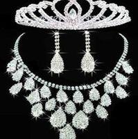 Wholesale Beauty Noble Rhinestone Crystal Wedding Jewelry Set Bridal Accessories Earrings Choker Necklace Headdress Set For Wedding