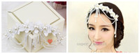 Wholesale Lace Bridal Headdress Flower Head Hair Ornaments Korean Pearl Tassls Wedding Dress Hair Accessories