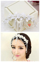 Wholesale Korean Lace Bridal Headdress Flower Head Hair Ornaments Pearl Tassls Wedding Dress Hair Accessories