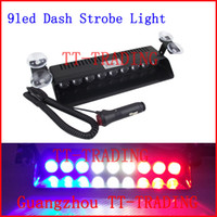 Wholesale 9 LED Police Emergency Strobe Lights Dash board Windshields lamp Car Truck Light DC12V RED BLUE WHITE AMBER