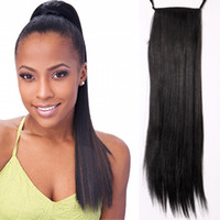 Wholesale 19 quot g Synthetic Straight Long Ponytail Hairpiece Hair Pieces Clip in Hair Extensions Color b Natural Hair Tail Anime Cosplay