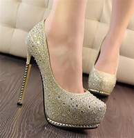 Wholesale 2014 New Luxury Wedding Bride Shoes cm High heeled Crystal Prom Evening Party Shoes color Black pink gold silver
