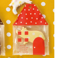 adhesive plastic wrap - Red Small House Food Packing Bags Party Favor Bags Self adhesive Plastic Bags Gift Wrapping Bags Biscuit Bags Cookies Bags