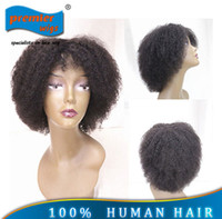 Wholesale 2015 Hot In stocking Pretty Afro kinky curl Glueless Cap quot Indian human hair regular machine made wig