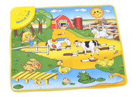 cotton baby blanket crawls - high quality Musical Farm baby game blanket children s play mat crawling baby blanket with animal sound CM