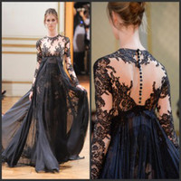Reference Images Crew Chiffon 2014 Zuhair Murad Illusion Neck Long Sleeve Evening Gown Crew Appliques Empire Navy Chiffon Lace Evening Formal Graduation Dresses Cheap