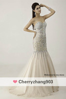 Wholesale 2014 New sexy champagne and purple mermaid chiffon formal evevening gowns big rhinestones sequins sweetheart backless prom dresses AN41015