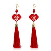 Wholesale Carlo US lucky character Chinese New Year red bride wedding knot earrings female long tassel earrings earrings