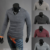 Wholesale Newest Casual Sweater Pullover Men Cotton Blends Slimming V Neck Knitted Wear Fashion Clothing