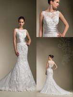 Wholesale 2014 Bateau Sheer Backless Lace Appliqued Wedding Dresses Ribbon Sweep Train Elegant Cheap Garden Bridal Party Gowns Fashion
