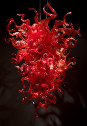 Free Shipping Big Red Led Blown Murano Glass Chandelier Light