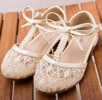 Wholesale High Quality Fashion Princess Girls Shoes Lace Bowknot Pearl Velcro Toddler Shoes Antiskid Children s Sandals Girl s Party Shoes EMS C1494