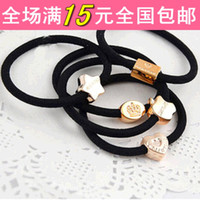 Wholesale Life Commodity department head hair rope hair ring Shengpi tendons retro metal crown female love rubber band