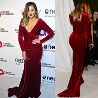 oscar - Khloe Kardashian Oscar Party Wine Red Christmas Velvet Evening Dresses Long Sleeves Mermaid Velvet Red Carpet Celebrity Dresses Dhyz