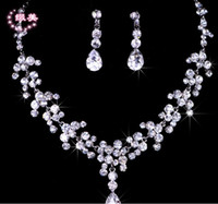 Wholesale 2014 Rhinestone Tiara Necklace Earring Sets Bridal Wedding Party Jewelry Set Crystal Wedding Accessories of Hera High Quality