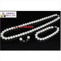 Wholesale Natural AAA round tahitan white pearl necklace18inch Bracelets7 inch earring925