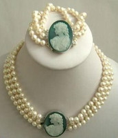 Wholesale Retail Strand mm White Akoya Pearl Cameo Necklace Bracelet jewellery set