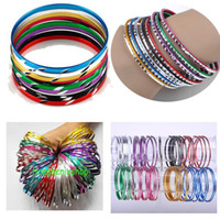 Bangle aluminum bracelets - Dance Style Mixed Color Aluminum Bracelets Bangles B429 B431 B454